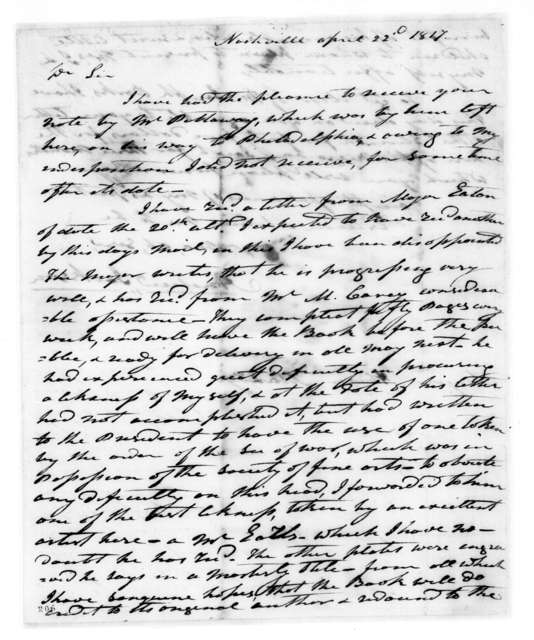 Andrew Jackson to Abram Maury, April 22, 1817