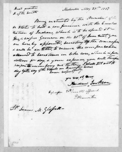 Andrew Jackson to James McMillan Glassell, May 29, 1817