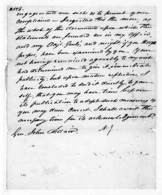 Andrew Jackson to John Adair, July 23, 1817