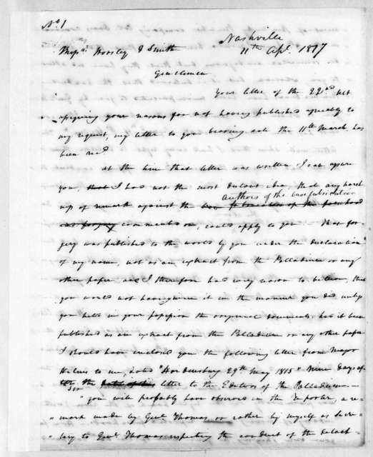 Andrew Jackson to Worsley & Smith, April 11, 1817
