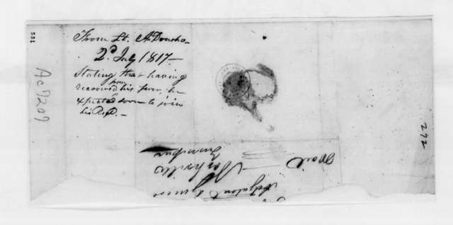Archimedes Donoho to Unknown, July 2, 1817