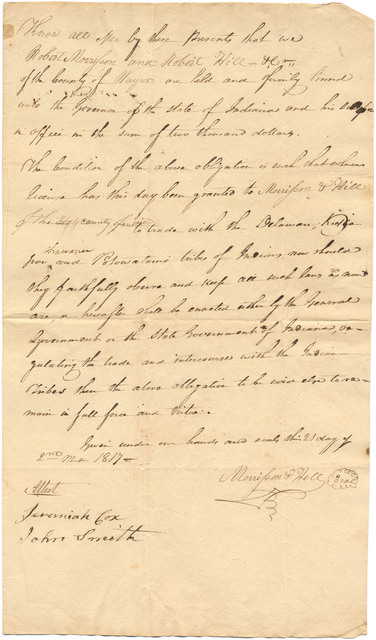 Bond and receipt from Jonathan Jennings to Robert Morrisson and Robert Hill