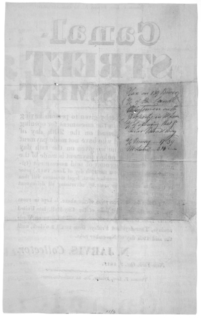 Canal street assessment. Notice is hereby given to persons having property included in the assessment for opening Canal-street, confirmed on the 20th day of August, 1810, and who have not made payment in conformity to notice given on the 28th da