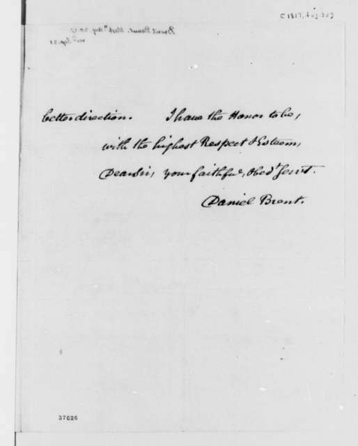 Daniel C. Brent to Thomas Jefferson, August 30, 1817
