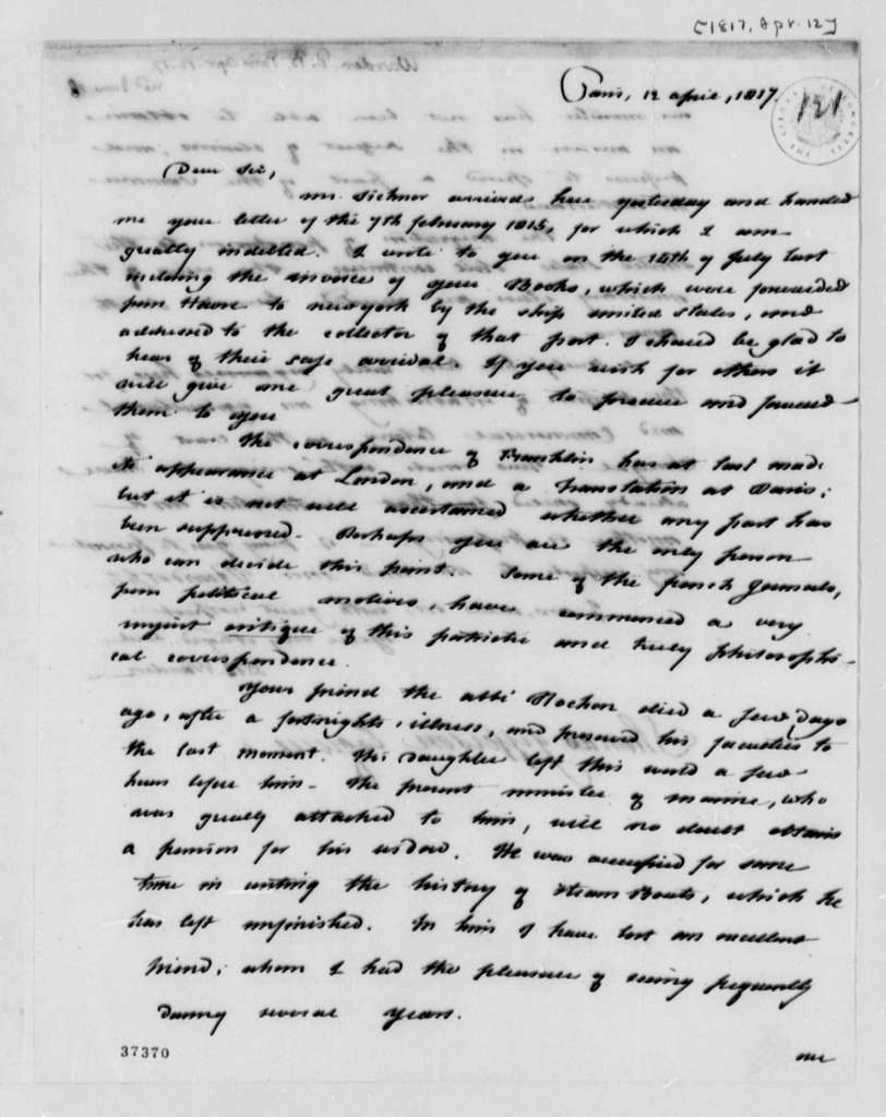 David B. Warden to Thomas Jefferson, April 12, 1817