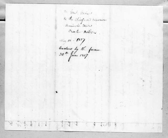 Edmund Pendleton Gaines to Chiefs and Warriors, Seminole Toen, Creek Nation, June 30, 1817