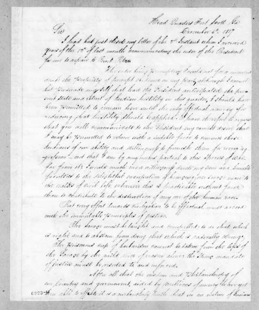 Edmund Pendleton Gaines to John Caldwell Calhoun, December 4, 1817