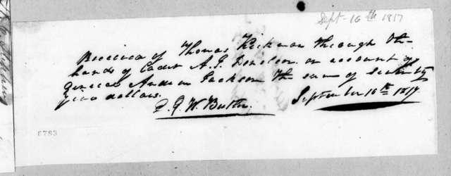 Edward George Washington Butler to Andrew Jackson, September 16, 1817