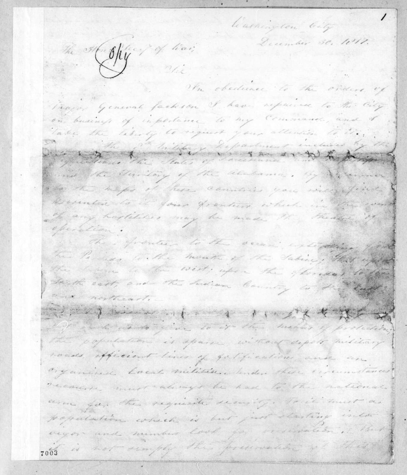 Eleazar Wheelock Ripley to John Caldwell Calhoun, December 30, 1817