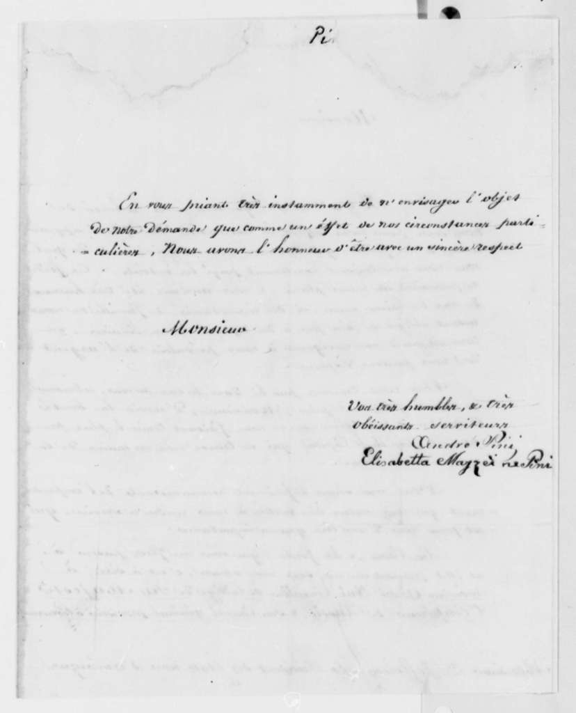 Elizabetta M. Pini to Thomas Jefferson, December 18, 1817, in French