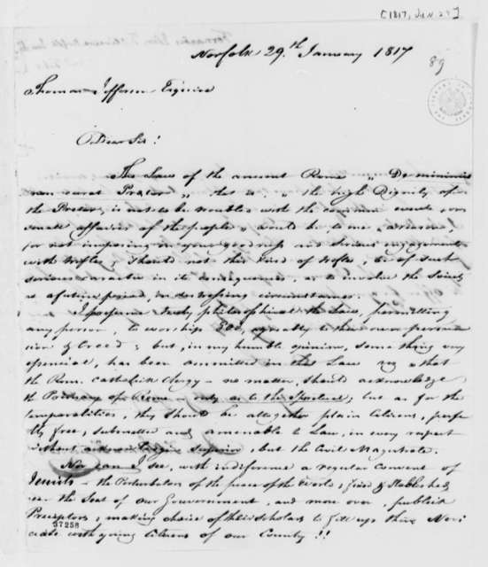 Fernandez Oliviera to Thomas Jefferson, January 29, 1817