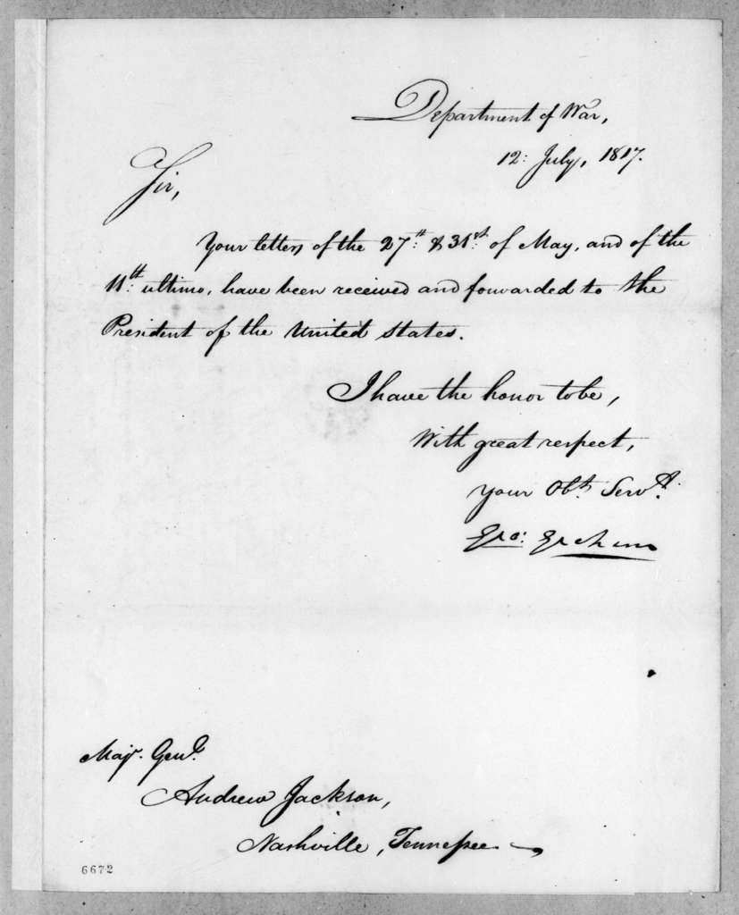 George Graham to Andrew Jackson, July 12, 1817