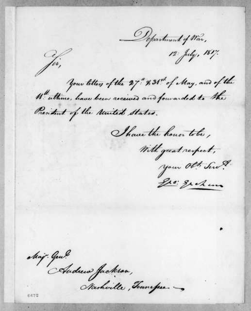 George Graham to Andrew Jackson, July 12, 1817