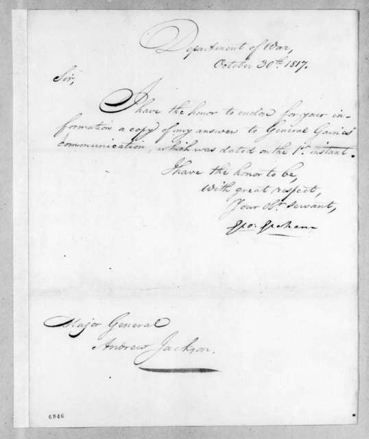 George Graham to Andrew Jackson, October 30, 1817