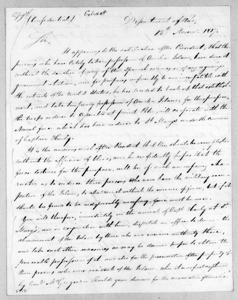 George Graham to James Bankhead, November 12, 1817