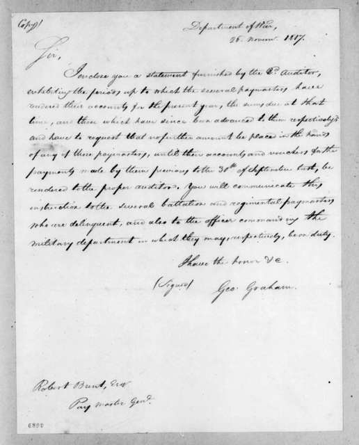 George Graham to Robert Brent, November 26, 1817