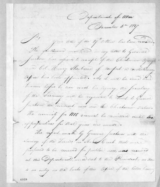 George Graham to Robert Butler, December 6, 1817