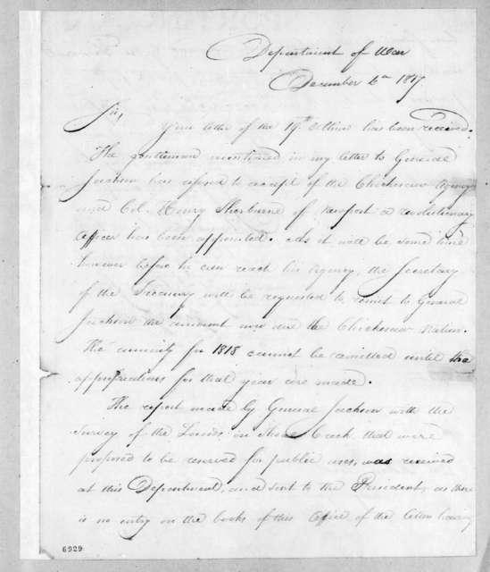 George Graham to Robert Butler, December 6, 1817