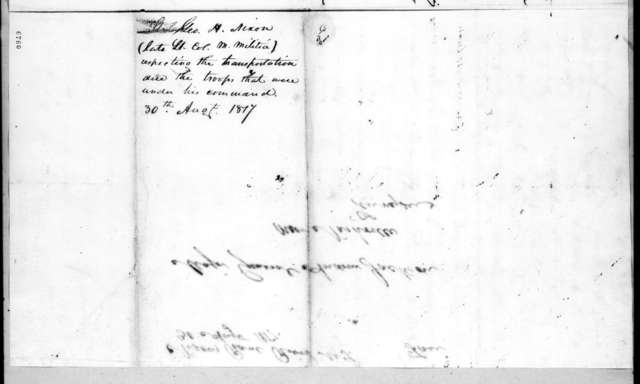 George Henry Nixon to Andrew Jackson, August 30, 1817