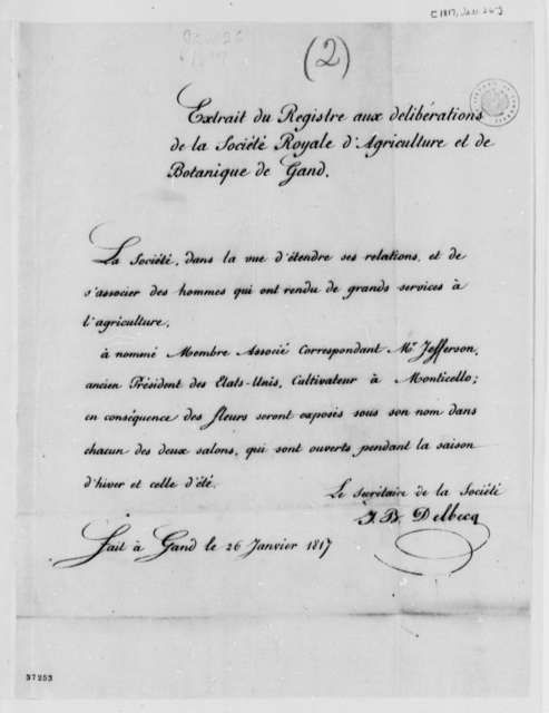 Ghent Royal Society of Agriculture and Botany, January 26, 1817, Notice, in French