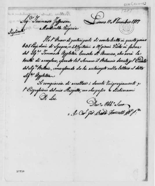 Giovanni Battista Fancelli to Thomas Jefferson, November 11, 1817, in Italian