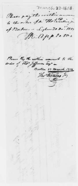 Giovanni Battista Fancelli to Thomas Jefferson, November 11, 1817, Receipt with Notes from Appleton and Perkins Dated March 23, 1818