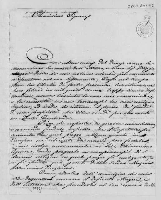 Giovanni Carmignani to Thomas Jefferson, April 11, 1817, in Italian