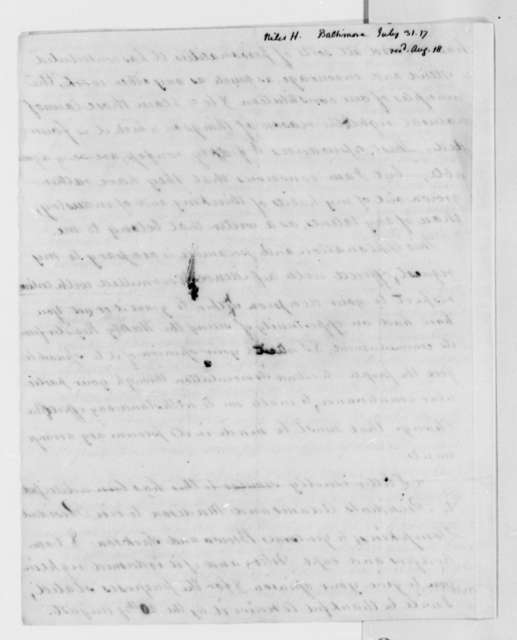 Hezekiah Niles to Thomas Jefferson, July 31, 1817