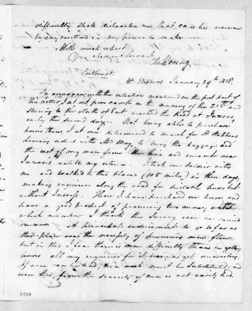 Hugh Young to Andrew Jackson, January 19, 1817