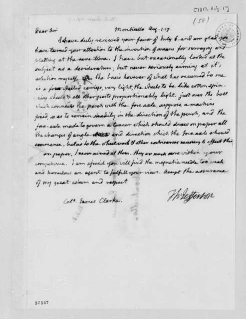 James Clarke to Thomas Jefferson, August 1, 1817