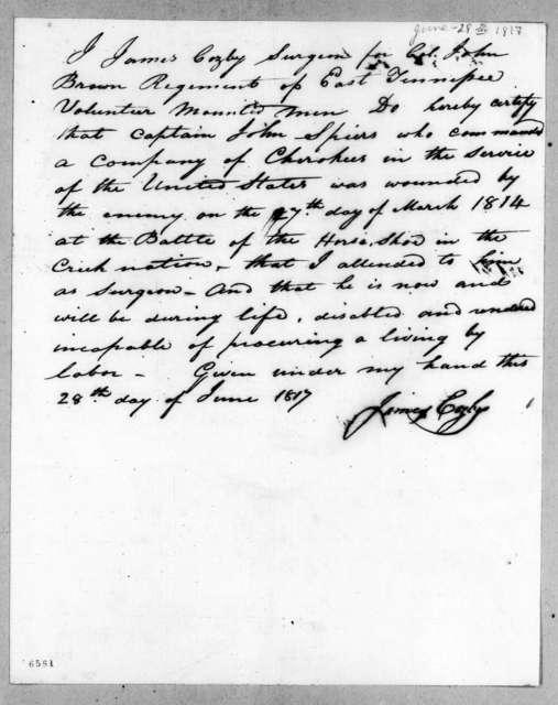 James Cozby, June 28, 1817