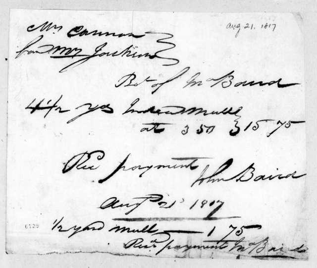 John Baird to Rachel Donelson Jackson, August 21, 1817