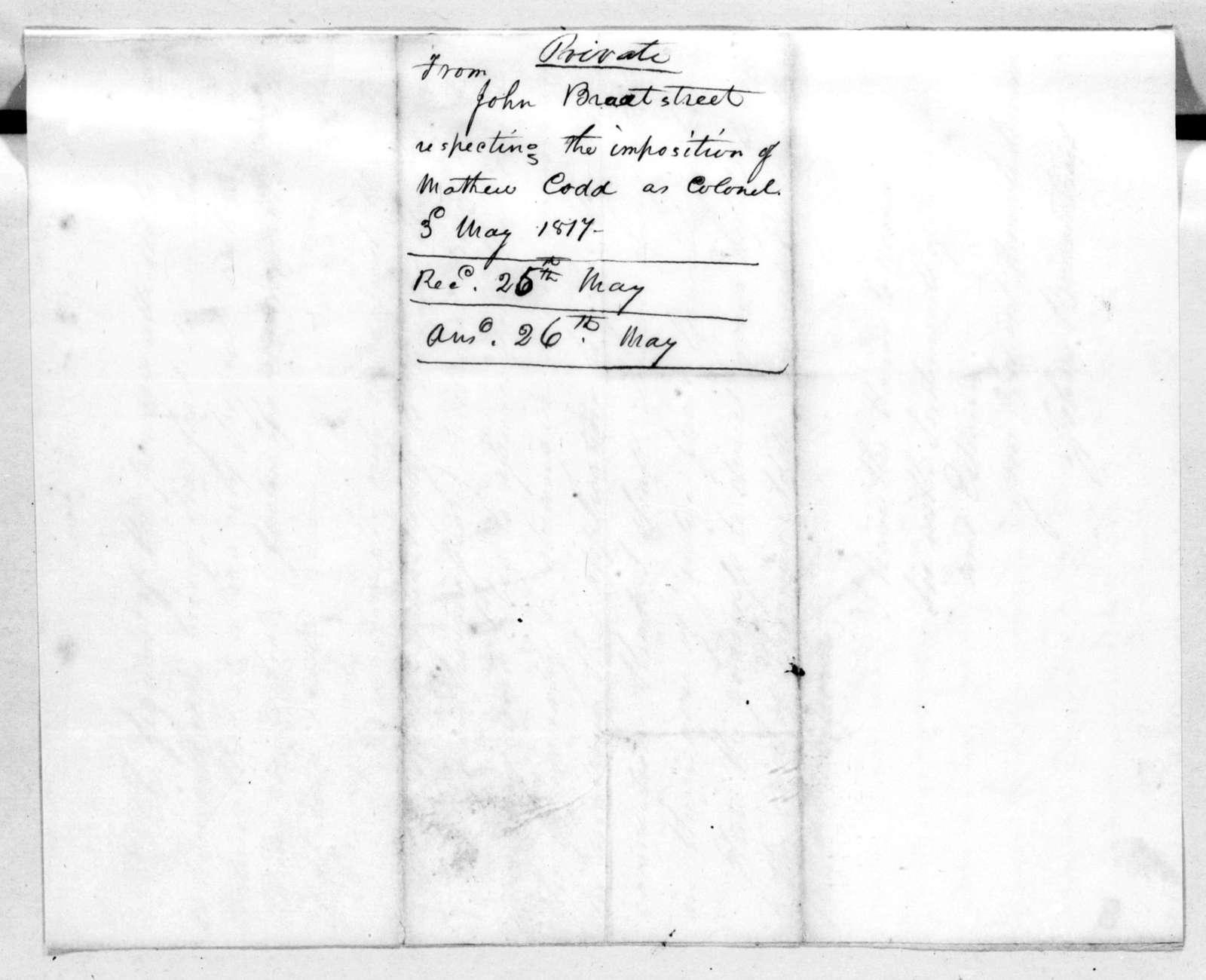 John Bradstreet to Andrew Jackson, May 3, 1817