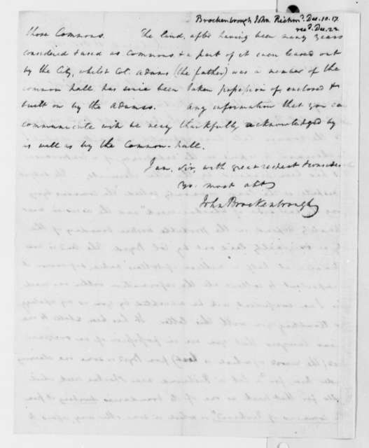 John Brockenbrough to Thomas Jefferson, December 10, 1817