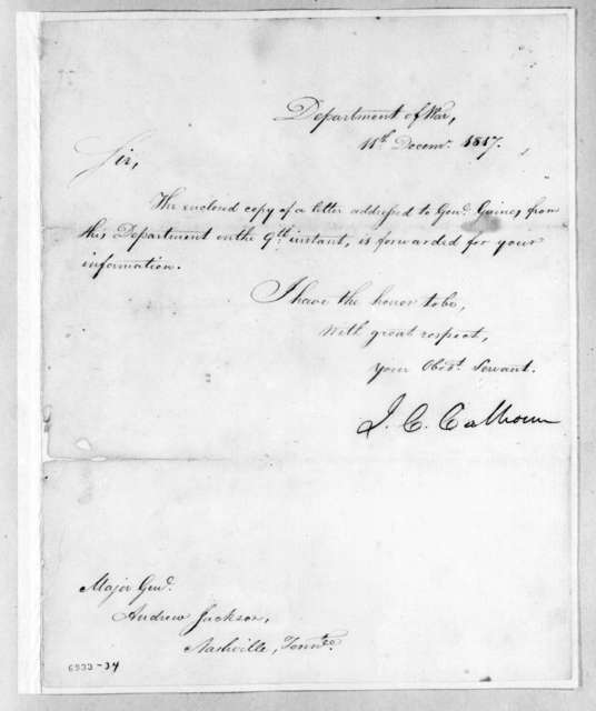 John Caldwell Calhoun to Andrew Jackson, December 11, 1817