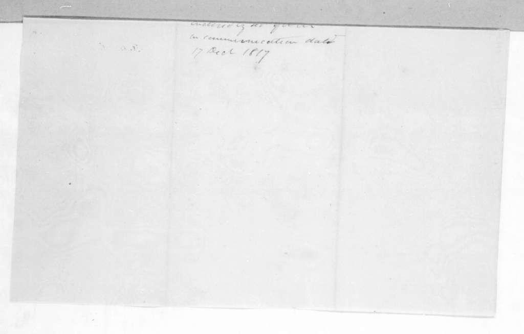 John Caldwell Calhoun to Edmund Pendleton Gaines, December 16, 1817