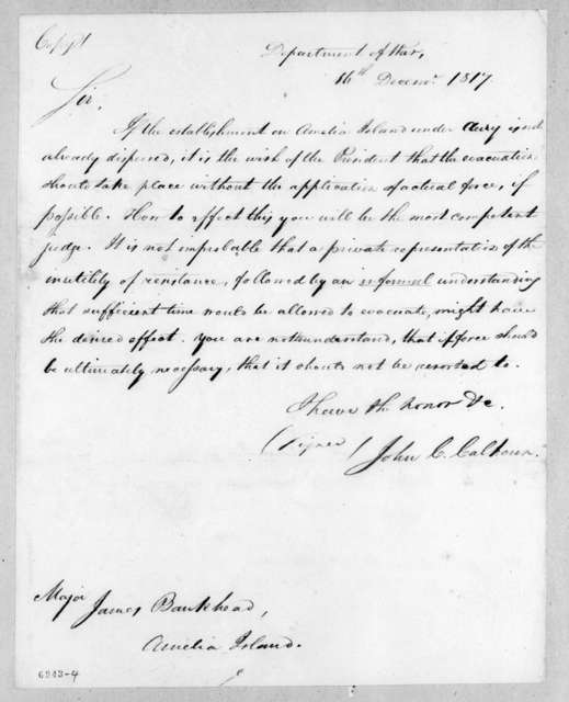 John Caldwell Calhoun to James Bankhead, December 16, 1817