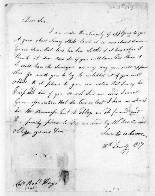 John Dickson to Robert Hays, January 18, 1817
