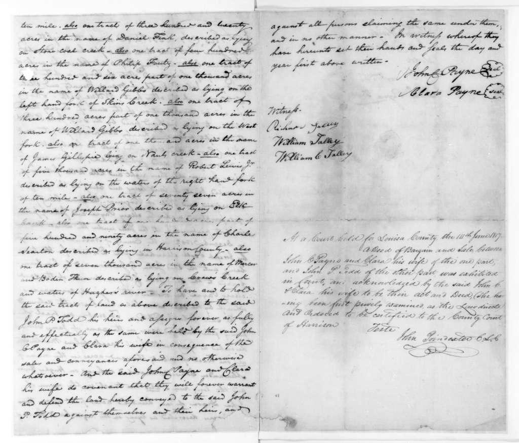 John P. Todd, June 8, 1817. Indenture between John C. Payne and John P. Todd for the sale of land.