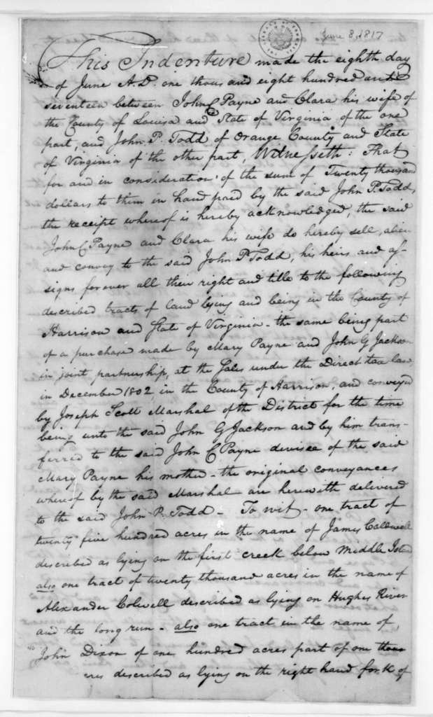 John P. Todd, June 8, 1817. Indenture between John C. Payne and John P. Todd for the sale of land.