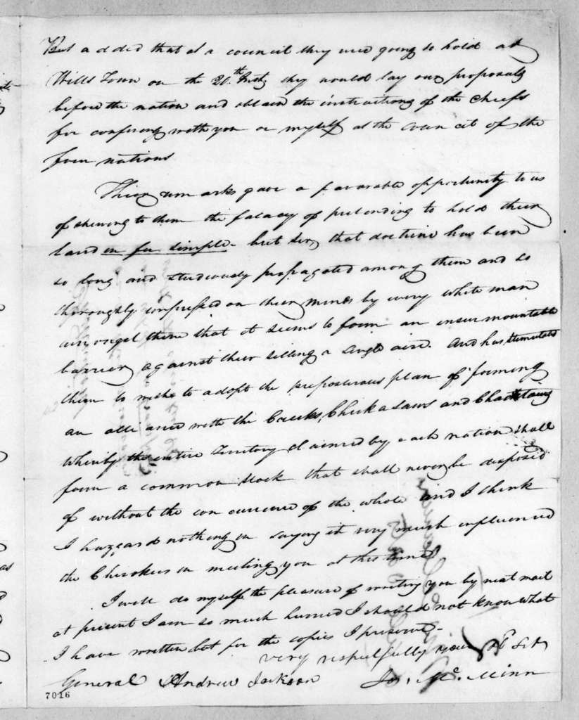 Joseph McMinn to Andrew Jackson