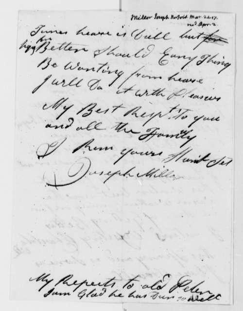 Joseph Miller to Thomas Jefferson, March 24, 1817