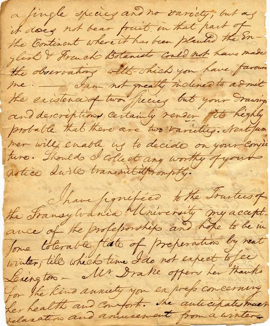 Letter from Daniel Drake to Charles Wilkins Short