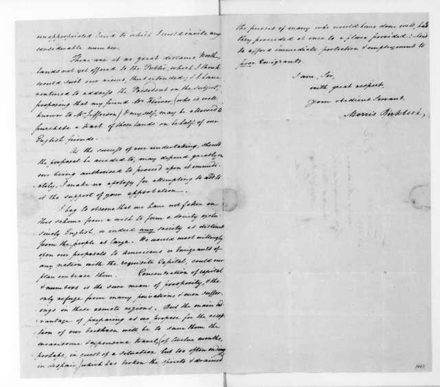 Morris Birkbeck to James Madison, September 18, 1817.