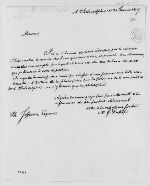 Nicholas Gouin Dufief to Thomas Jefferson, January 30, 1817, in French, with Account