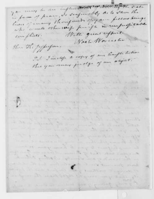 Noah Worcester to Thomas Jefferson, October 22, 1817, with Printed Enclosures
