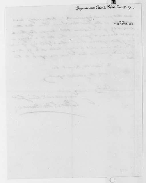 Peter S. du Ponceau to Thomas Jefferson, December 5, 1817