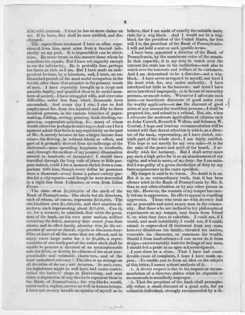 (Private and confidential. Sir. I should do myself manifest injustice, did I not explain the nature of the case that occurred on Saturday at the Bank of Pennsylvania ... Your obedient, humble servant Mathew Carey. February 24, 1817.