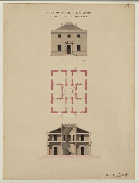 [Projet de marché aux charbons. Pavillon de l'administration. Elevation, plan, and section] / Baltard.