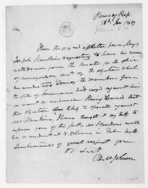 Richard M. Johnson to James Madison, January 16, 1817.